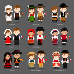 People in national dress. Belgium, Austria, Hungary, France, Portugal, Italy, Spain, Switzerland, Czech Republic. Set of european pairs dressed in traditional costume. National clothes.