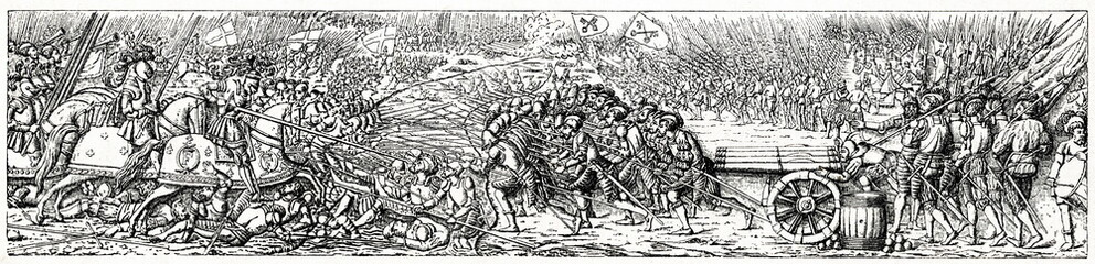 Battle of Marignano, 1515, relief from the tombstone of Francis I of France (from Spamers Illustrierte Weltgeschichte, 1894, 5[1], 163)
