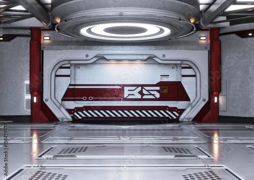 Modern futuristic spaceship interior background  3d