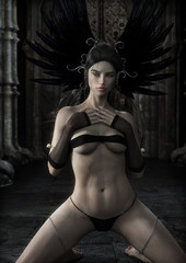 Queen of the vampires.Portrait of a  sexy alluring mythical female posing in front of her fortress . 3d rendering