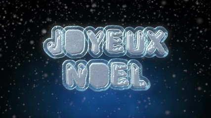 008 merry christmas 3d text looping animation in french language joyeux noel frozen ice text - How To Say Merry Christmas In French