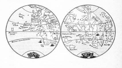 Two hemispheres of Earth from Martin Behaim globe (from Spamers Illustrierte Weltgeschichte, 1894, 5[1], 181)