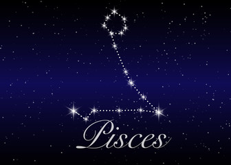 Pisces zodiac constellations sign on beautiful starry sky with galaxy and space behind. Fish sign horoscope symbol constellation on deep cosmos background. vector