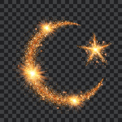 Golden particles wave in form of islam symbols crescent and star with bright shining and glowind particles isolated on transparent background. Glitter bright trail, glowing wave vector illustration