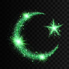 Green particles wave in form of islam symbols crescent and star with bright shining and glowind particles isolated on transparent background. Glitter bright trail, glowing wave vector illustration