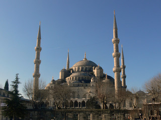 Blue Mosque in Istanbul with blue sky