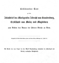 Letter of Albrecht of Brandenburg, Archbishop of Mainz and Magdeburg, for the sale of indulgences (from Spamers Illustrierte Weltgeschichte, 1894, 5[1], 200/201)