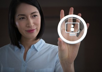 Businesswoman touching computer profile graphic icon