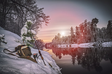 Fishing gear on the winter river.