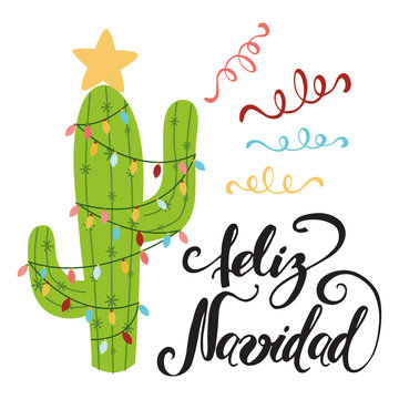 Merry Christmas banner. Happy cactus in a Christmas garland. Cool vector greeting card. Title in Spanish