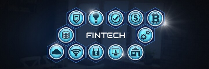 Fintech various business icons