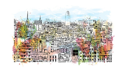 Watercolor painting with splash and sketch of aerial view of Barcelona, Spain in vector illustration.