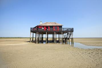 Stilt hut on beach during low tide, Ile aux Oiseaux, Gironde, France