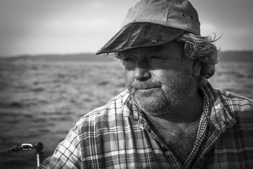 Portrait of sailor in sea, Maine, USA