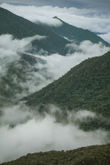 Valley and mountains of Peru Cloud Forest viewed from biological research station Wayqecha, Paucartambo, Peru