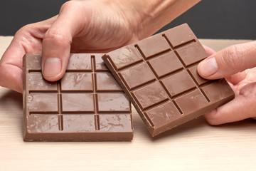 milk chocolate and hand