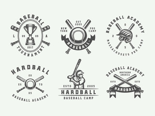 Vintage baseball sport logos, emblems, badges, marks, labels. Monochrome Graphic Art. Vector Illustration.