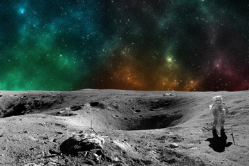 Astronaut on moon surface. Elements of this image furnished by NASA