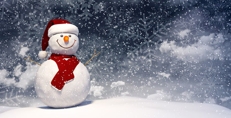 Snowman with Santa's hat and red scarf 3D Rendering