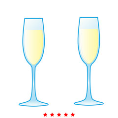 Glass of champagne icon . Different color .