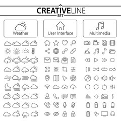 Big Collection of Weather, User Interface and Multimedia Icons
