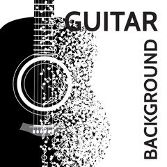 vector abstract background with guitar and notes