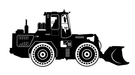 Detailed excavator snow-plow tractor. Vector illustration