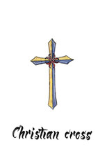Golden symbol of crucifix, watercolor hand drawn illustration