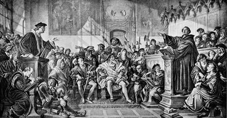 Debate between Martin Luther and Johann Eck (Leipzig Debate), painting of Julius Hübner(from Spamers Illustrierte Weltgeschichte, 1894, 5[1], 208/209)