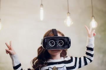 Smart girl in virtual glasses