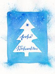 Handgemalte Weihnachtskarte mit Weihnachtsbaum und deutschem Text: Frohe Weihnachten