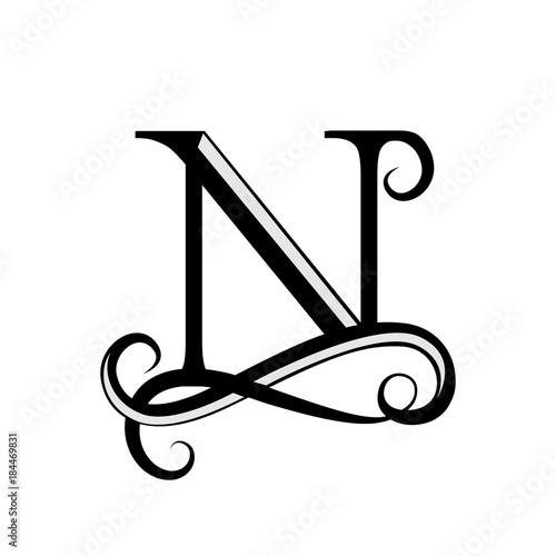 capital letter for monograms and logos beautiful black vector n design