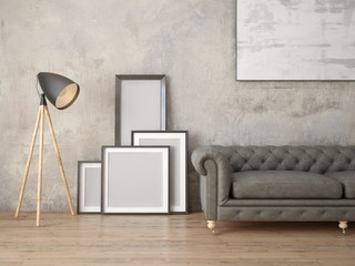 Mock up a modern living room with leather sofa and hipster background.