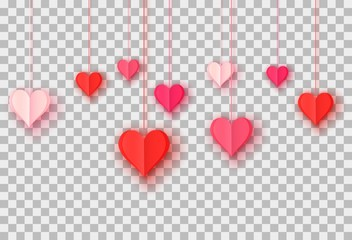 3d paper cut illustration of hanging red and pink paper hearts on transparent background. Vector