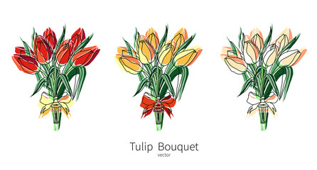 Vector tulip bouquet icons set. Colored flower bouquet isolated icons for polygraphy, web design, logo, app, UI.