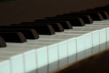 Classical piano, keys in a row. Reflection.