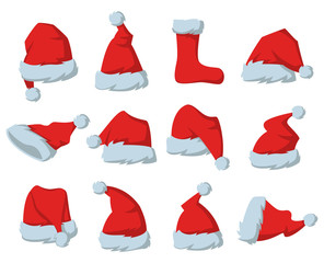 Set of Red hats of Santa Claus on the white background.