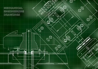Blueprints. Mechanical construction. Technical Design. Engineering Cover. Banner. Green. Grid