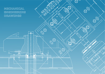 Blueprints. Mechanical construction. Technical Design. Engineering Cover. Banner. White and blue