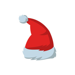 Red hat of Santa Claus on the white background.