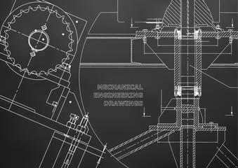 Blueprints. Mechanical construction. Technical Design. Engineering illustrations. Banner. Black