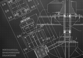 Blueprints. Mechanical engineering drawings. Technical Design. Cover. Banner. Black. Points