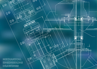 Blueprints. Mechanical engineering drawings. Technical Design. Cover. Banner. Blue