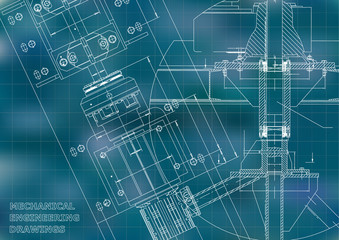 Blueprints. Mechanical engineering drawings. Technical Design. Cover. Banner. Blue. Grid
