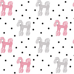 Vector seamless cartoon pattern with poodle. Black, pink. grey and white hand drawn dog pattern for paper, textile, handmade decoration, scrap-booking, polygraphy, t-shirt, cards.
