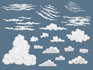 Set of different cartoon clouds.