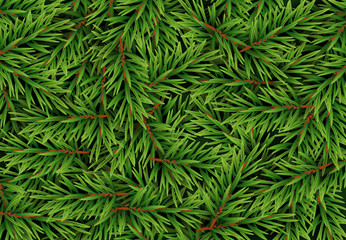 Realistic Fir Branches Background, Christmas Tree, Pine. Vector Illustration