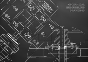 Engineering backgrounds. Technical Design. Mechanical engineering drawings. Blueprints. Black