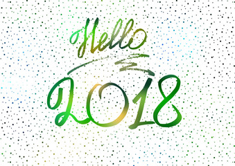 Hello 2018. New Year 2018. New Year's greeting card, cover, banner. Christmas tree. New Year's lights. Snow. White Holographic