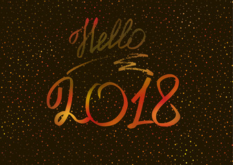 Hello 2018. New Year 2018. New Year's greeting card, cover, banner. New Year's lights. Holographic